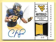 2015 Treasures Multisport #41 Charles Sims 2 Color Patch Autograph #3/5 WVU