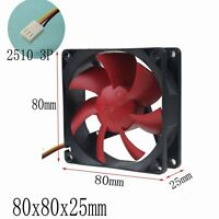 80mm Red Wing 12V 3Pin Super Silent Quiet 8cm 80x25mm DC Computer Cooling Fan