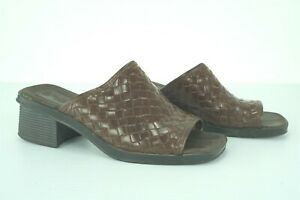 05013 Montego Bay Brown Leather Woven Black Heel Womens Shoes Size 5.5