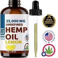 Lemon Hemp Oil For Pain Relief Anxiety, Sleep 1 oz 25 000 mg