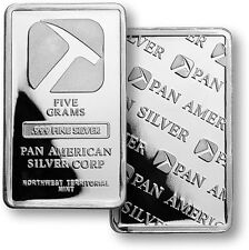 (TWO) 5 GRAM  NWT-PAN AMERICAN BARS .999 FINE SILVER   MINT #S960