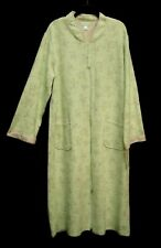 MISS ELAINE LONG SOFT QUILTED GREEN FLORAL ZIP-FRONT ROBE W/POCKETS~M~L~NEW