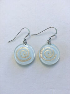 Handmade Fused Glass Round Earrings - 925 Silver Wires