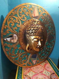SPECTACULAR HAND CARVED ALBESIA WOOD ROUND BUDDHA WALL PLAQUE - 60cm
