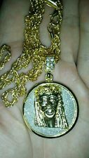 UK Mens Rope Twist Gold Plated Iced Out Bling Jesus Piece Hip Hop Pendant Chain