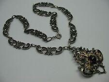 Traumhaft schöne ältere alpenländische Collier Kette aus 835 Silber mit Granat