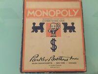 VINTAGE 1935 MONOPOLY GAME SMALL BOX NO BOARD
