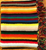 "Handmade Crochet Afghan Fringed Multicolored Striped 54"" x 60"" Throw Blanket"