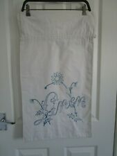 Vintage french?  linen laundry bag white embroidered