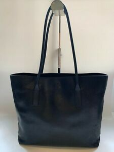 Prada Vintage Tote Bag in Black Leather Shoulder Bag w Silver Hware (Authentic)