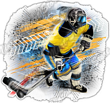 Ice Hockey Player Puck Stick Skates Sport Car Bumper Vinyl Sticker Decal 4.6""