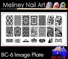 BC-06 Stamping Nail Art Image Plate Design Rectangle XL Stencil metal