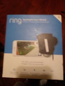 NEW Sealed RING Spotlight Cam Wired Black Outdoor Rectangle Security Camera