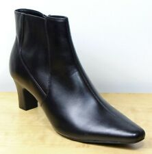 M&S Real LEATHER Smart MID Heel ANKLE BOOTS with FOOTGLOVE ~ Size 6 ~ BLACK