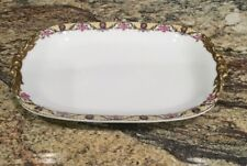 "ANTIQUE JEAN POUYAT JPL LIMOGES 11 1/2"" L Oval Serving Platter Roses N Lattice"