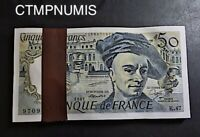 50 FRANCS QUENTIN DE LA TOUR 1987 LIASSE BANQUE DE FRANCE LOT DE 100 EXEMPLAIRES