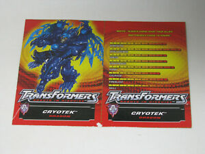 Transformers Robots in Disguise R.I.D. Cryotek Tech Specs