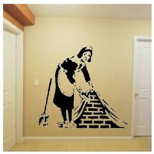Banksy style Maid Sweeping Under Wall Vinyl wall art Decal Sticker