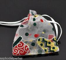 3 sachets en organza blanc décor bottes de Noël  9 x 7 cm