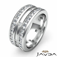 Princess Round Diamond Wedding Eternity Band 18k White Gold 9mm Mens Ring 1.75Ct