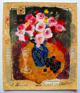 Alexander Wissotzky EVENING BOUQUET Hand Signed Limited Edition Serigraph Art