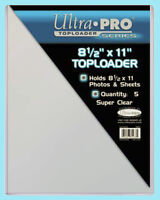 "5 Ultra Pro 8.5""x11"" TOPLOADERS NEW Rigid Sleeves Photos Documents 8-1/2 x 11"