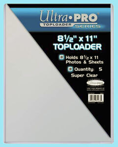 """5 Ultra Pro 8.5""""x11"""" TOPLOADERS NEW Rigid Sleeves Photos Documents 8-1/2 x 11"""