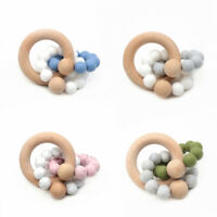 Double Silicone Beads Beech Wood Ring Baby Chewable Teething Bracelet Pram Toys