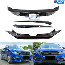 RS Carbon Texture Front&Lower Grille Bezel fit for 16-17 Honda Civic Sedan/Coupe