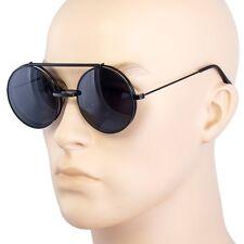 Cool Flip Up Lens Steampunk Vintage Retro Style Round Sunglasses Tortoise Gold 8