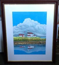 "David Linton 2012 Watch Hill Light RI 16""x22"" framed watercolor lighthouse"