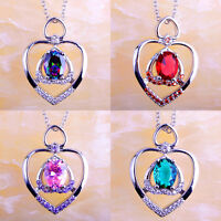 Rainbow & Pink & Green Sapphire & Ruby Spinel Gems Silver Chain Necklace Pendant