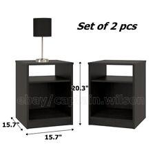 Nightstand Set of 2 End Table Black Bedroom Bedside