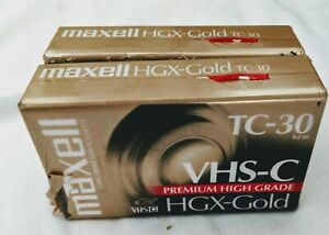 NWT Lot Of Three Maxell HGX-Gold VHS-C Video Tapes TC-30