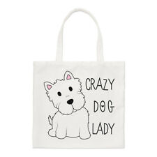 Crazy Dog Lady Small Tote Bag-Dog Puppy FUNNY shopper spalla