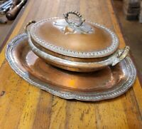 Rare ANTIQUE Persian Copper Tray & Tureen Set Primitive Kitchen Metalwork 1912 ☆