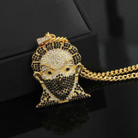 "Hip Hop 18K Gold Plated Iced Out Masked Pendant 26"" Cuban Chain Necklace"