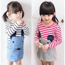 Baby Kids Girls Striped Long Sleeve Pencil Dress Skirts Mouse Denim Jeans Dress
