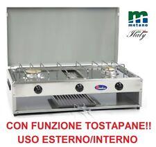 FORNELLO A GAS 2 FUOCHI CON TOSTAPANE - VALVOLATO METANO - PIANALE ACCIAIO INOX
