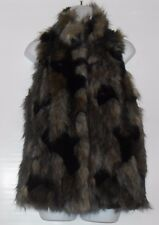 I-N-C International Concepts Ladies Faux Fur Vest Black Multi S MSRP $169.50 NWT