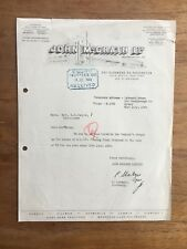 1944 JOHN MCGRATH AUTOMOBILES PADDINGTON SYDNEY LETTERHEAD INVOICE RECEIPT F143