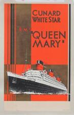 CUNARD WHITE STAR LINE RMS QUEEN MARY MAIDEN VOYAGE ERA TRAVEL AGENT POSTER 1936