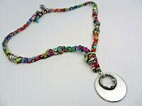 """Womens hand made artisan designer necklace multi color fabric with steel 24"""""""