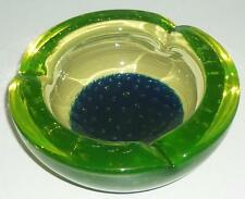 LOVELY RETRO MURANO ART GLASS URANIUM DARK BLUE YELLOW GREEN BOWL DISH 15cm WIDE