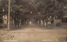 NEWTOWN, BUCKS COUNTY, PA ~ CHANCELLOR STREET, HOMES, RPPC ~ used 1907