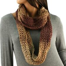 Winter Chunky Multicolor Long Knit Circle Loop Chain Infinity Scarf Mix Brown