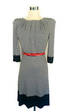 8e6f0e57fb TED BAKER Dress - Black White Striped Stretch Bow Pleated Shoulder Pads -  Sz0 6
