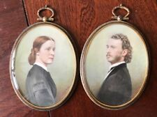 Pair of Portrait miniatures by C. Chandler Ross - Husband Wife