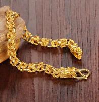 18k Yellow Gold Mens Women's Dragon 10mm Wide Link Chain Bracelet w Gift Pg D731
