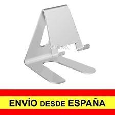 Soporte Mesa Aluminio para Móvil Tablet Sobremesa Base Universal PLATA a2975